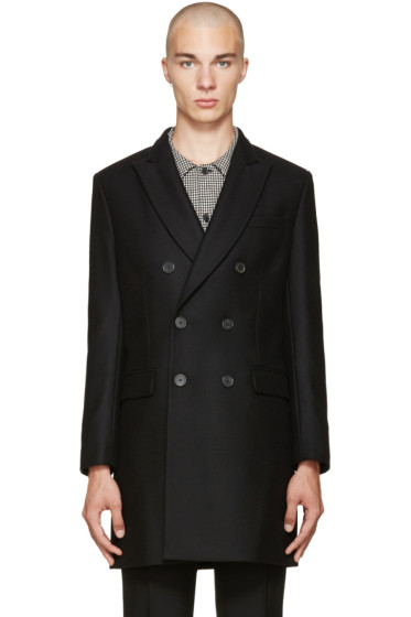 AMI Alexandre Mattiussi - Black Wool Double-Breasted Coat