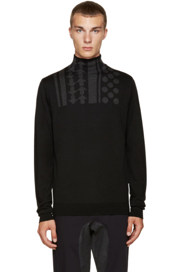 Kolor - Black Wool Intarsia Turtleneck
