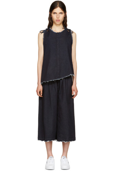 Facetasm - Indigo Denim Frayed Jumpsuit