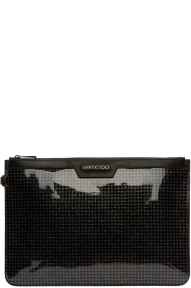 Jimmy Choo - Black Houndstooth Glitter Pouch