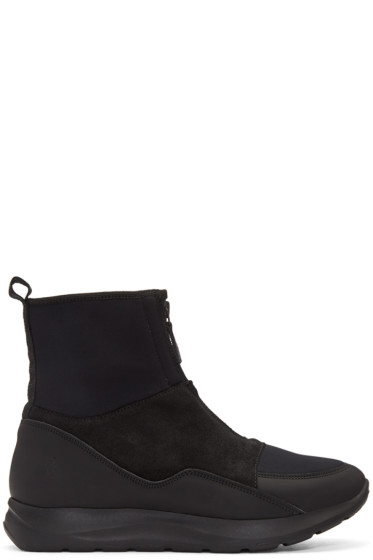 Marcelo Burlon County of Milan - Black Neoprene Running High-Top Sneakers