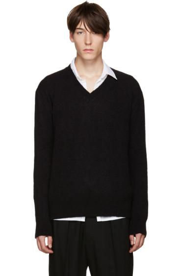 Haider Ackermann - ブラック モヘア V ネック セーター