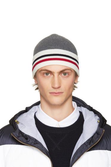 Moncler Gamme Bleu - Grey Striped Beanie