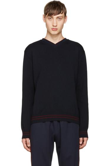 Giuliano Fujiwara - ネイビー メリノ V ネック セーター