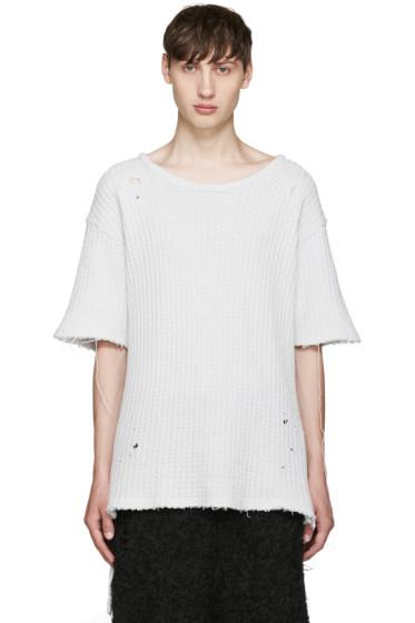 Miharayasuhiro - Grey Waffle Knit Damaged T-Shirt