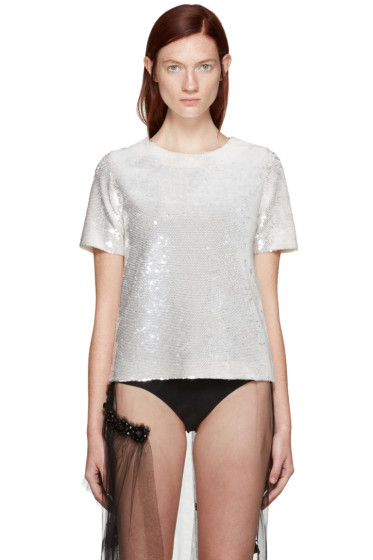 Ashish - SSENSE Exclusive Ivory Sequin T-Shirt