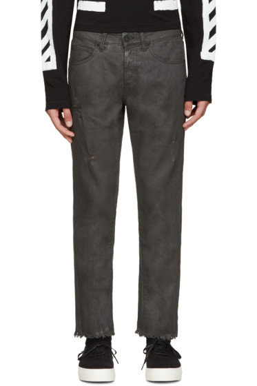 Off-White - Black Cropped Coated Jeans