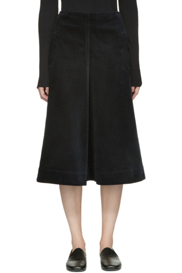 Lemaire - Navy Flared Corduroy Skirt