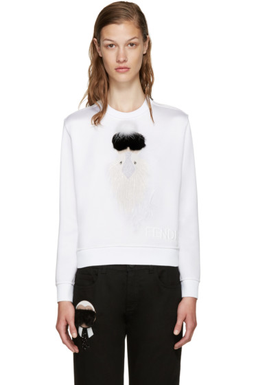 Fendi - White Cropped Karlio Sweater