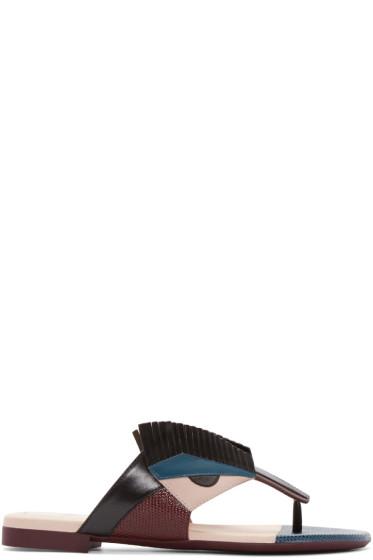 Fendi - Multicolor Leather Bug Eyes Sandals