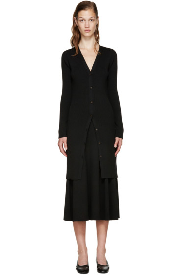 Rosetta Getty - Black Merino Wool Elongated Cardigan
