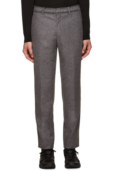 Wooyoungmi - Grey Blanket Stitch Trousers