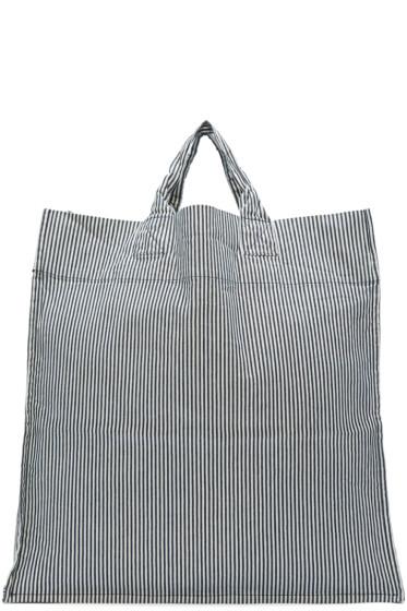 Sunnei - Black & White Striped Shopping Tote
