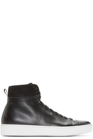 John Elliott - Black Leather High-Top Sneakers