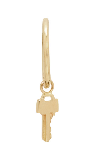 Lauren Klassen - Gold Tiny Key Hoop Earring