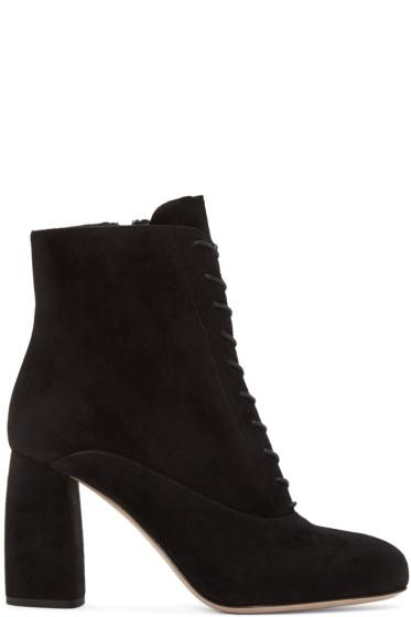 Miu Miu - Black Suede Lace-Up Boots