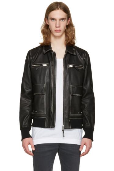 Diesel - Black Leather L-Boom Jacket