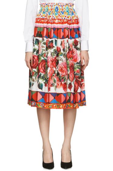 Dolce & Gabbana - Multicolor Poplin Maiolica Skirt