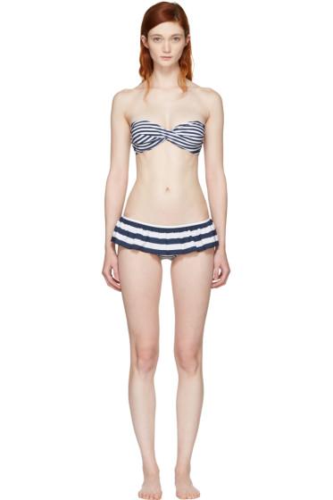 Dolce & Gabbana - Blue & White Striped Flounce Bikini