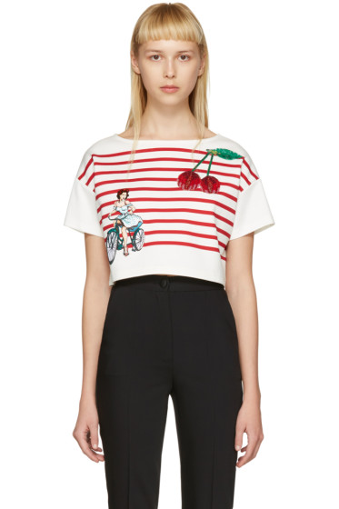 Dolce & Gabbana - Off-White Cropped Badges T-Shirt