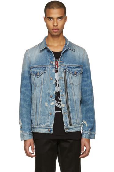 R13 - ブルー デニム ディストレス ジップ トラッカー ジャケット