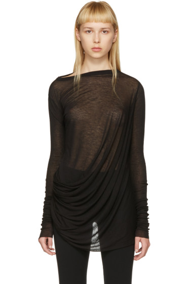 Rick Owens Lilies - Black Draped T-Shirt