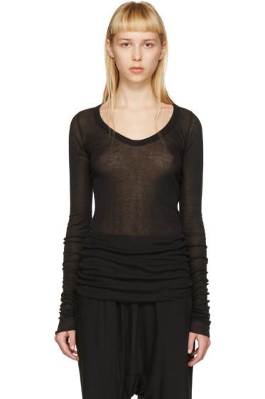 Rick Owens Lilies - Black Deep V-Neck T-Shirt
