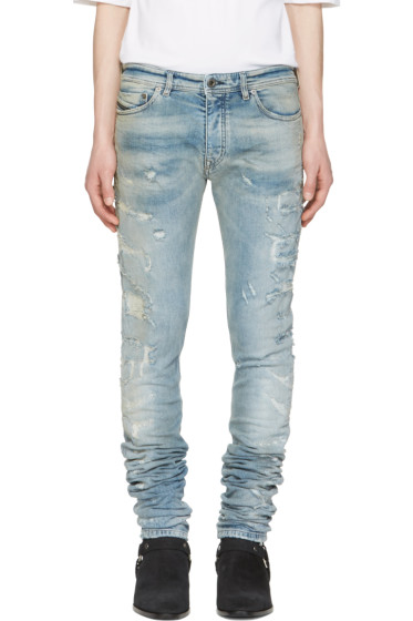 Diesel Black Gold - Blue Distressed Sexy Jeans
