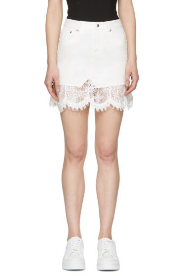 McQ Alexander McQueen - Ivory Denim Lace Miniskirt