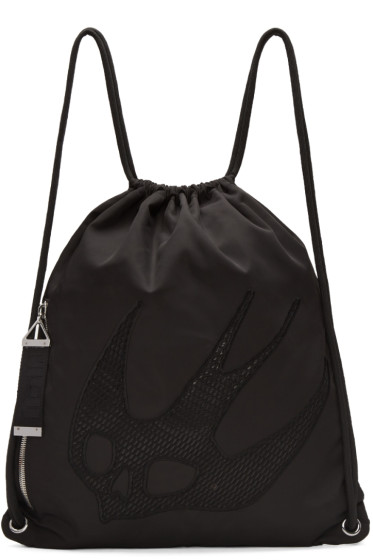 McQ Alexander McQueen - Black Nylon Embroidered Rucksack