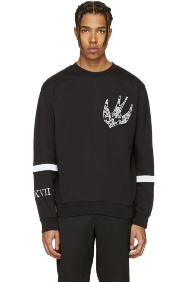 McQ Alexander McQueen - Black Paisley Swallow Clean Pullover