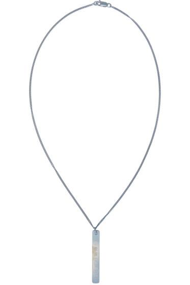 Maison Margiela - Silver & Blue Logo Pendant Necklace
