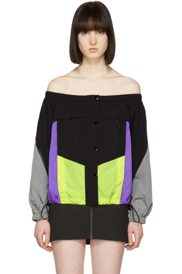 Alexander Wang - Black Colorblocked Off-the-Shoulder Blouse