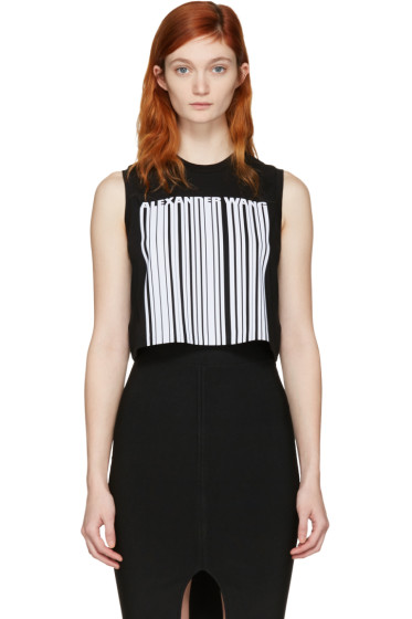 Alexander Wang - Black Cropped Barcode Tank Top