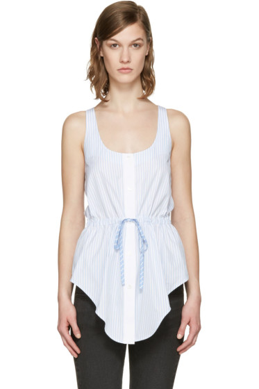 Alexander Wang - Blue & White Striped Oxford Top