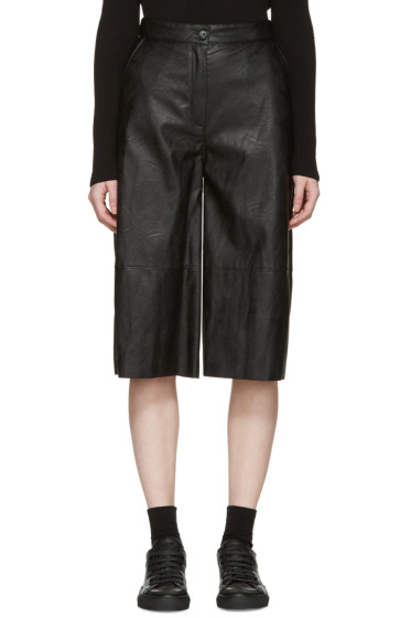 MM6 Maison Margiela - Black Faux-Leather Culottes