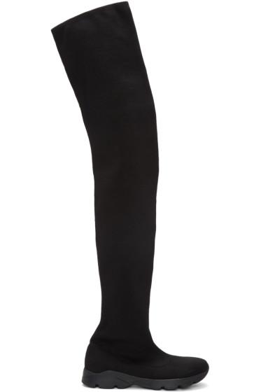 ec2e9afc64f MM6 Maison Margiela Black Sock Over-The-Knee Boots from SSENSE - Styhunt