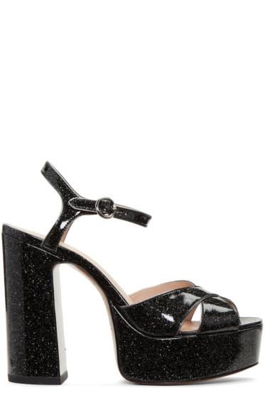 Marc Jacobs - Black Glitter Lust Platform Sandals