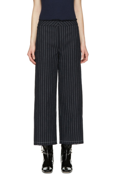 T by Alexander Wang - Navy High-Waisted Cotton Burlap Trousers
