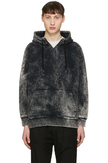 Robert Geller - Black Acid Wash Hoodie
