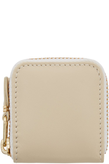 Comme des Garçons Wallets - Off-White Small Leather Zip Around Pouch