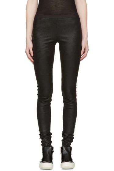 Rick Owens - Black Leather Leggings