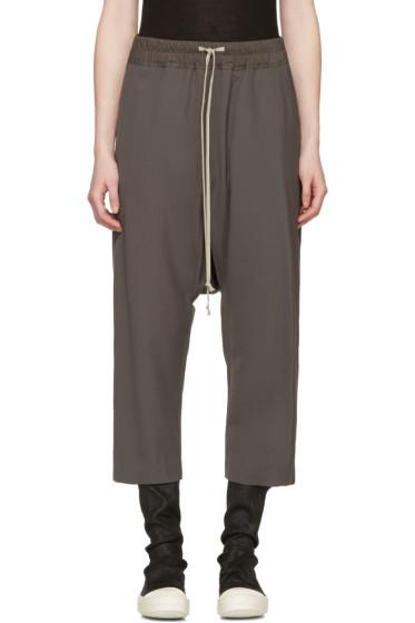 Rick Owens - Grey Drawstring Cropped Lounge Pants