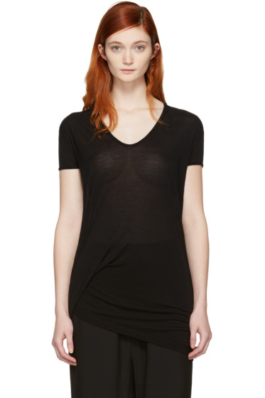Rick Owens - Black Hiked T-Shirt
