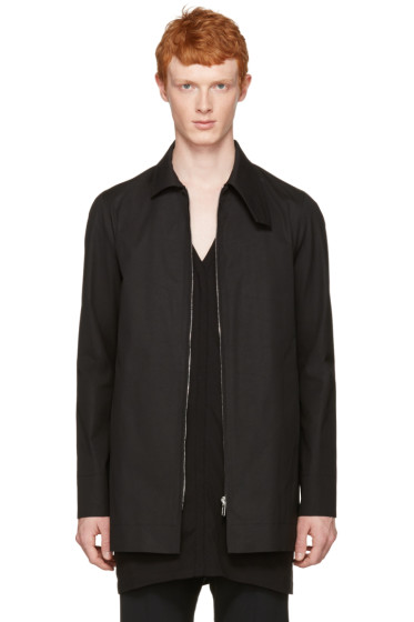 Rick Owens - Black Patch Pea Coat