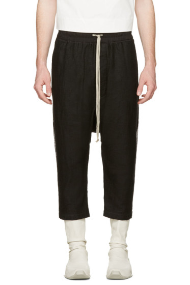Rick Owens - Black Mesh Drawstring Cropped Trousers