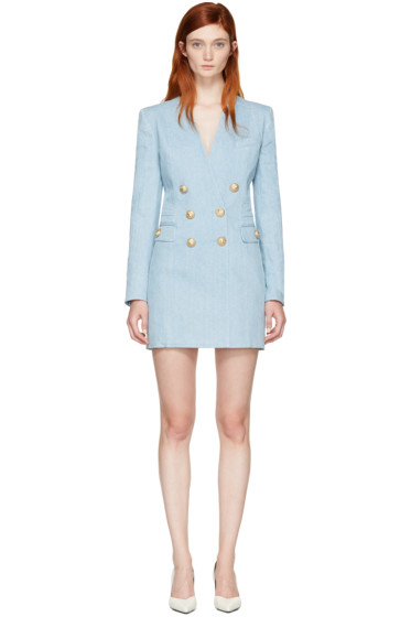 Balmain - Blue Denim Blazer Dress