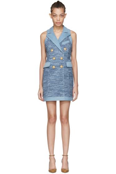 Balmain - Blue Tweed & Denim Dress