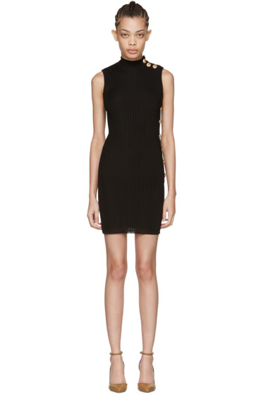 Balmain - Black Sleeveless Turtleneck Dress