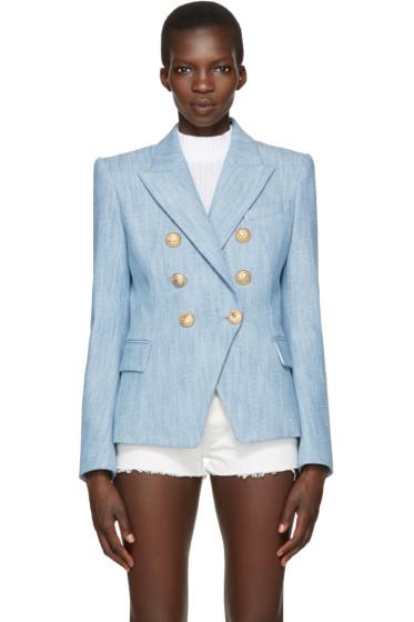 Balmain - Blue Tweed Six-Button Blazer